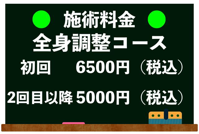 施術料金(全身調整コース・税込価格)